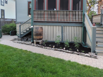 Oak-Park-Whiskey-Rain-Barrel-and-Garden Landscaping Project