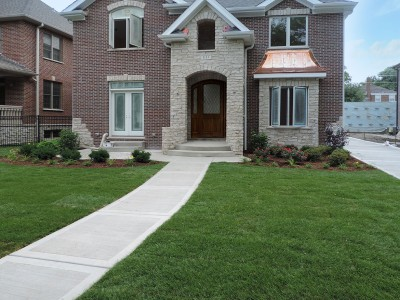 Park Ridge Front Entrance with Patio Landscaping Project Entrance Brick Paver Patio