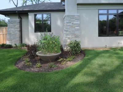 Solar-Shrub-Bed-with-Planter Landscaping Project