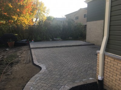 Paver patio and curved walkway
