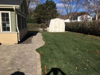 Paver patio and new sod