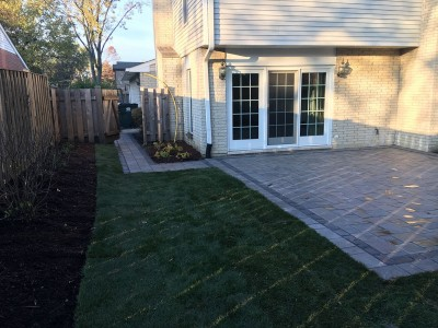 Paver patio new sod and landscaping