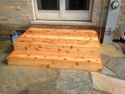 Custom Cedar Landing and Steps   Flagstone Patio in Park Ridge Steps