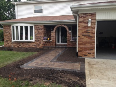 Unilock Olde Greenwich Cobble Paver Front Entrance   Front Entrance Remodel in Arlington Heights
