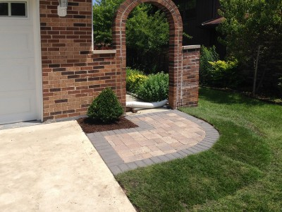 Unilock Olde Greenwich Cobble Paver Walkway Front Entrance Remodel in Arlington Heights Unilock Brick Paver Walkway