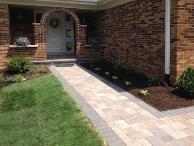 Unilock Olde Greenwich Cobble Pavers with Landscaping   Front Entrance Remodel in Arlington Heights