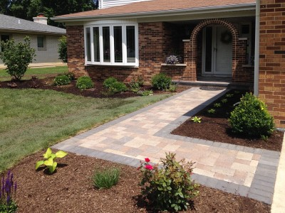Unilock Olde Greenwich Cobble Pavers with New Landscaping   Front Entrance Remodel in Arlington Heights