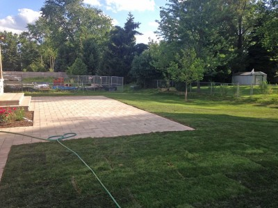 Unilock Brussell Block Paver Patio and New Sod   New Construction in Northbrook Unilock Brussell Block Paver Patio Sod