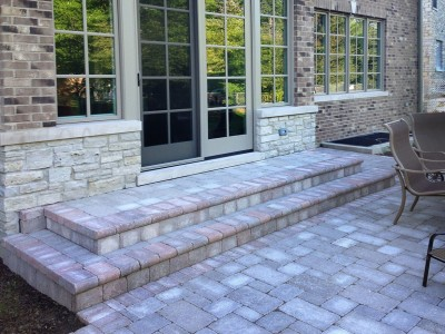 Unilock Brussell Block Paver Patio and Steps with Fullnose Edging   New Construction in Northbrook Paver Patio Walkway Steps patio