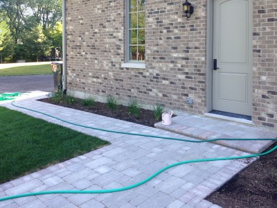 Unilock Brussell Block Paver Walkway with Fullnose Edging   New Construction in Northbrook Unilock Patio Paver Walkway