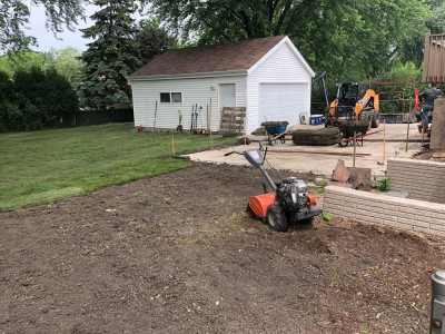Installation of paver patio and new sod