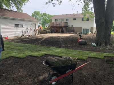 Installation new sod and grading