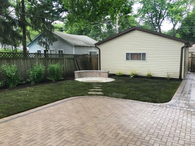 Brick paver patio flagstone patio new sod and landscaping