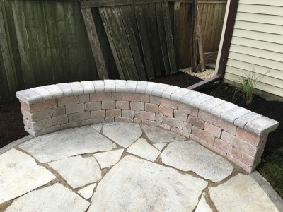 Flagstone patio and seat wall