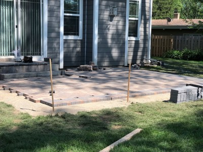 Paver patio construction